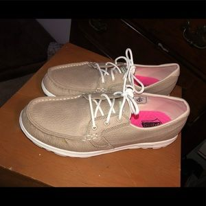 Skechers GoGaMat deck shoes with ties.